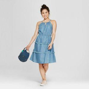 Spense Fringe Halter Dress Denim Blue 10